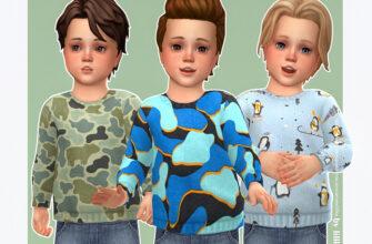 Уютный свитер с принтом для мальчиков в The Sims 4