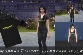 Женская майка и футболка CyberPunk для The Sims 4