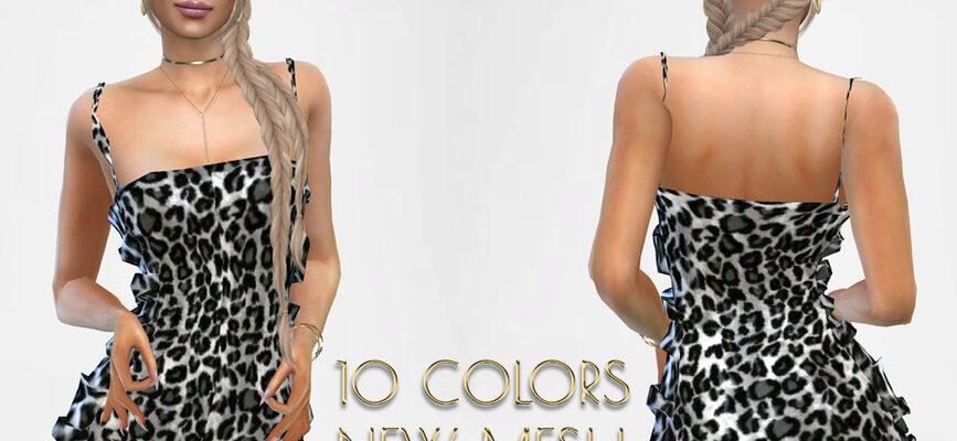 Платье DOLilac с леопардовым узором для The Sims 4