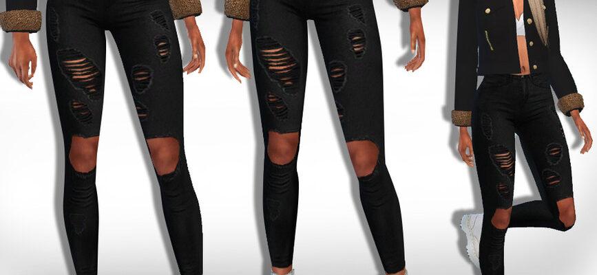 Женские рваные черные джинсы для The Sims 4