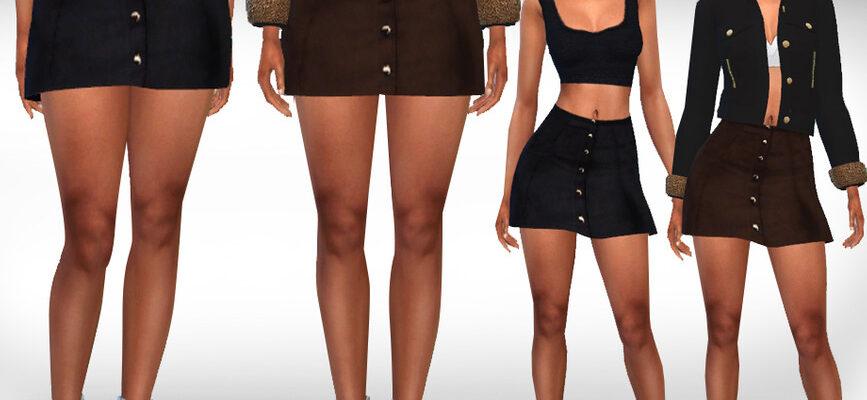 Женские мини-юбки на пуговицах для The Sims 4