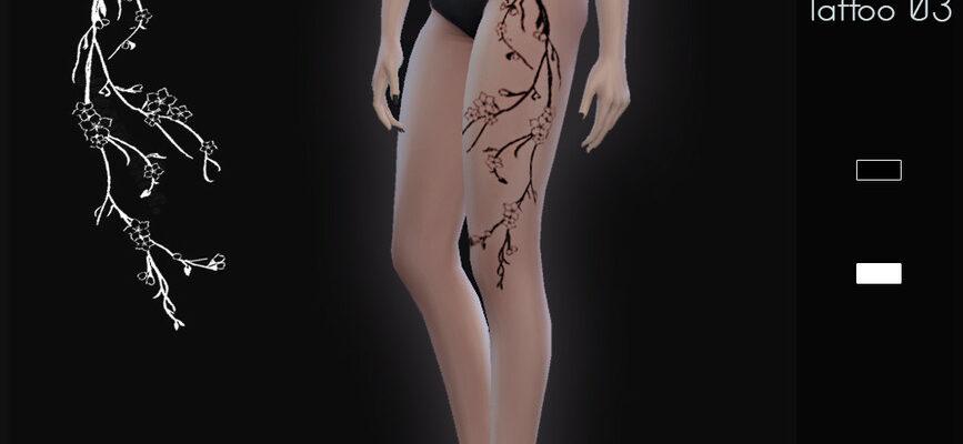 Татуировка на бедре для The Sims 4
