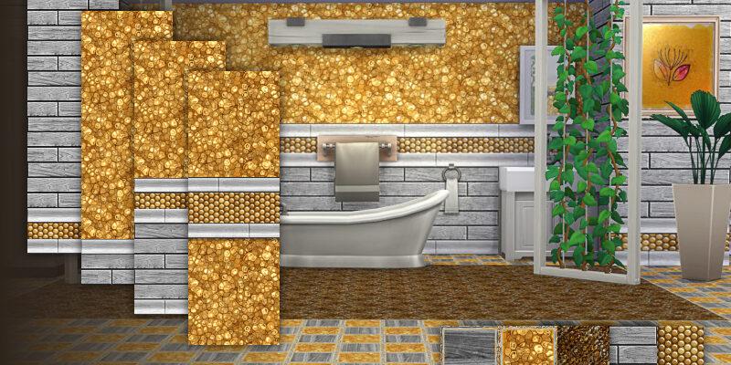Дорогие обои в золотом цвете для The Sims 4