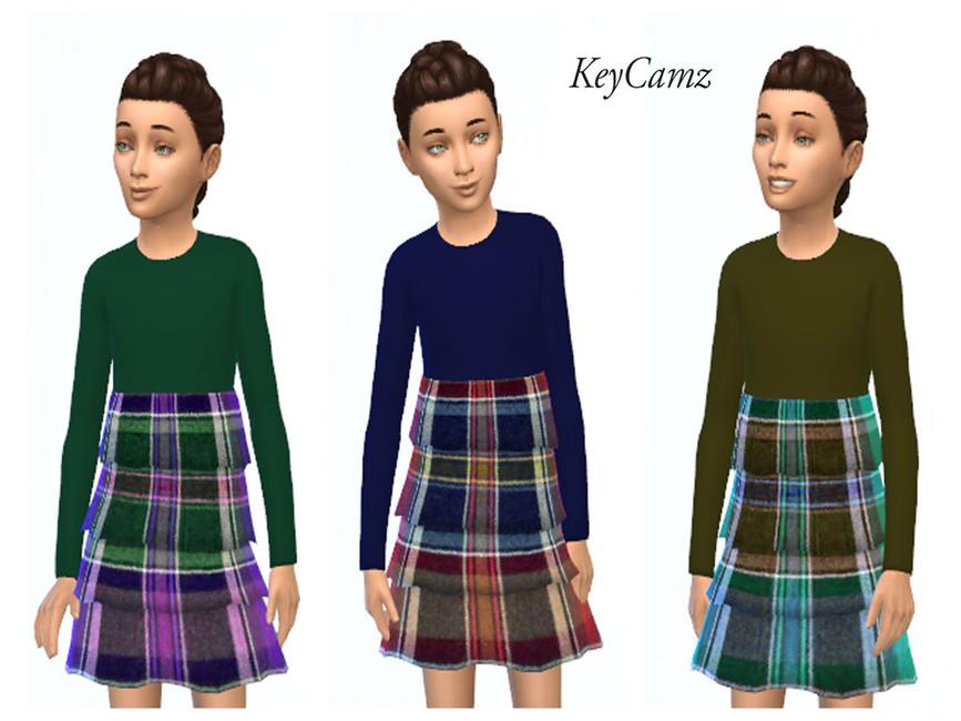 Клетчатое платье KeyCamz для The Sims 4