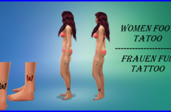Татуировка бабочка для The Sims 4
