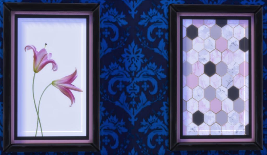Розовые художественные настенные картины для The SIms 4