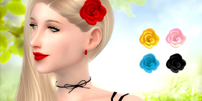 """Заколка """"Роза"""" для The Sims 4"""