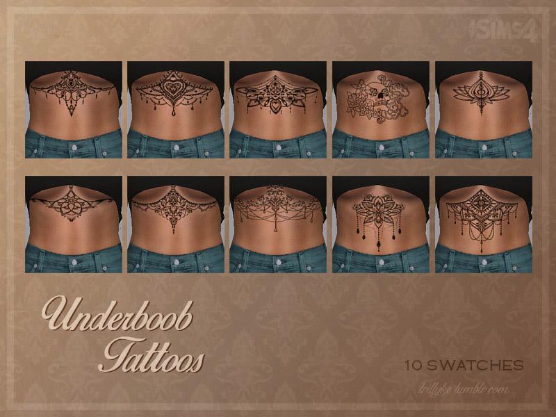 Татуировки под грудью для The Sims 4