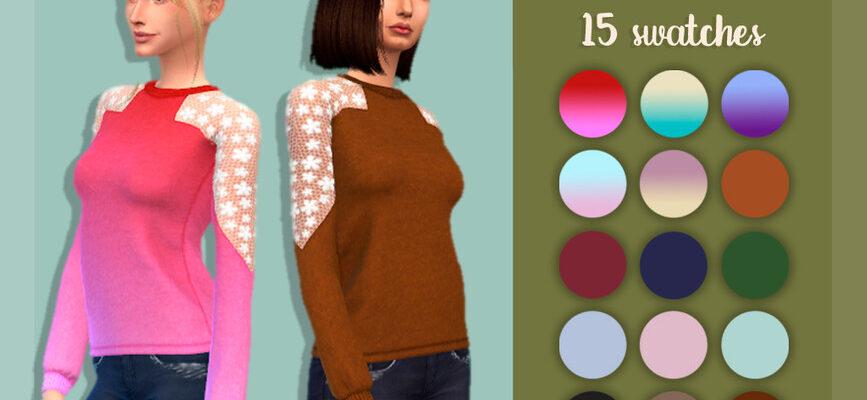 Свитер с прозрачными рукавами для The Sims 4