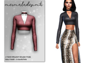 Блузка с V-образным вырезом для The Sims 4